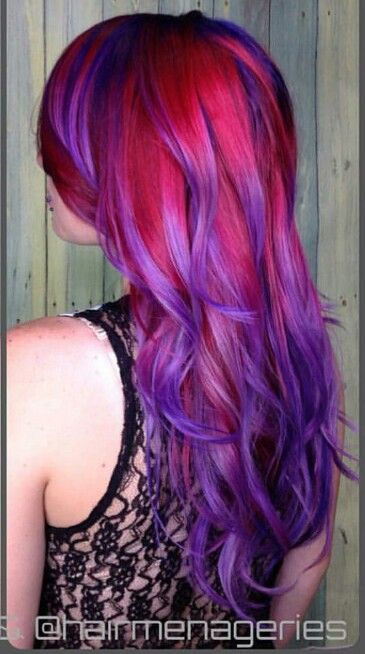 Red purple dyed hair color