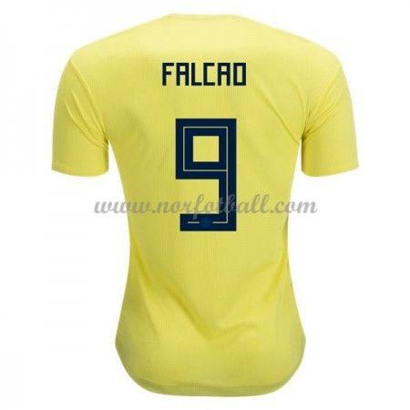 Billige Colombia Drakt VM 2018 Radamel Falcao 9 Kortermet Hjemme Fotballdrakter