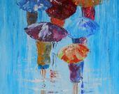 Tableau de personnages avec des parapluies sous la pluie ou la neige : Peintures par peintures-axelle-bosler