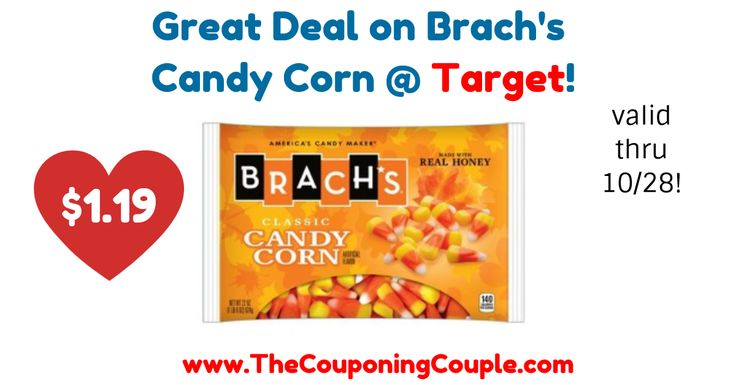 Any Candy Corn fans?! Perfect time to pick up some! Great Deal on Brach's Candy Corn @ Target!  Click the link below to get all of the details ► http://www.thecouponingcouple.com/great-deal-on-brachs-candy-corn-target/ #Coupons #Couponing #CouponCommunity  Visit us at http://www.thecouponingcouple.com for more great posts!