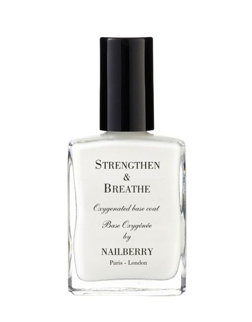 Nailberry Strengthen & Breathe -  A powerful oxygenated hardening base coat leaving your nails clean, stronger, thicker, smoother and ready for our oxygenated nail polish to be applied.