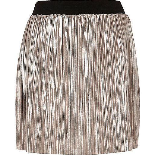 Metallic lichtroze geplooide minirok - minirokken - rokken - dames