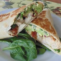 """California Club Chicken Wraps   """"The classic California club sandwich is now featured as a wrap stuffed with bacon, lettuce, Monterey Jack cheese, avocado, chicken, tomato, onion, and a zesty chipotle mayonnaise."""""""