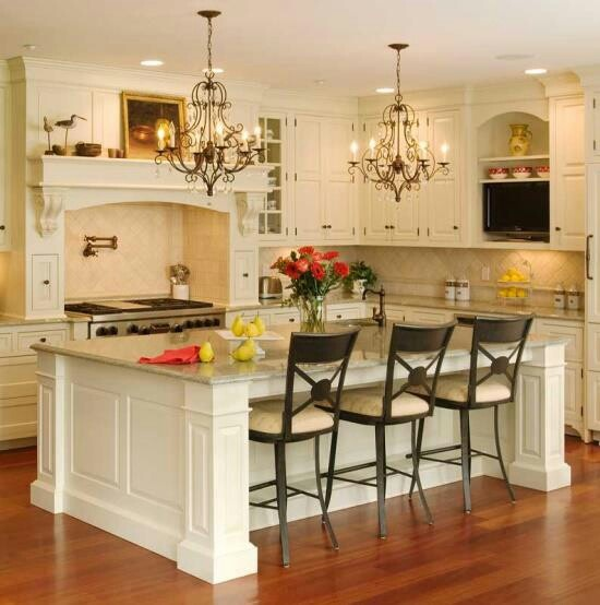 Kitchen dining- I love the white cabinets!