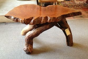 60's free form edge burl wood slab occasional table 33 1/2w x 18 1/2d x 20h Dealer PSA $450