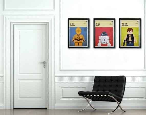 Lego Star Wars, Set of 3 Framed prints, Mid Century Modern, Modernist Typography Print, Childrens Bedroom Art, Nursery Pictures, Kids art