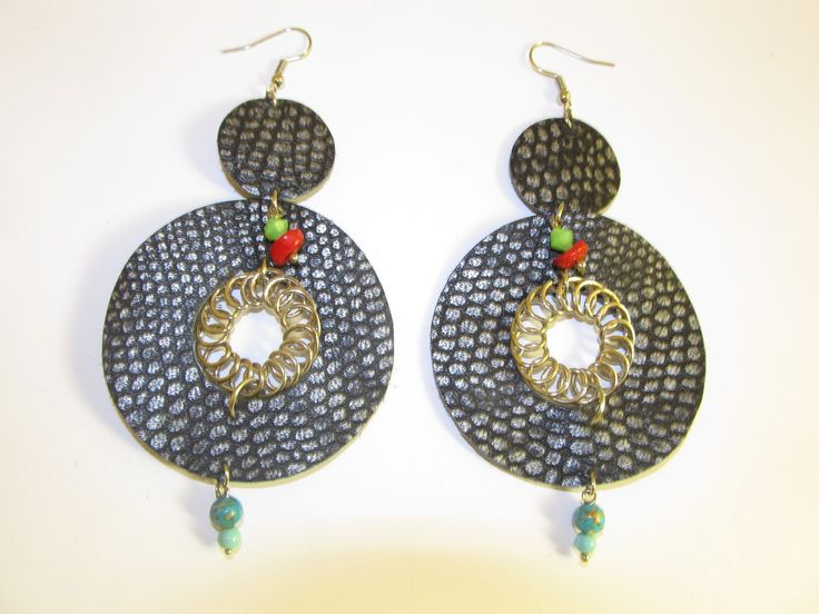 Handmade leather earrings (1 pair)  made with black/silver leather, metal spiral and semiprecious stones.