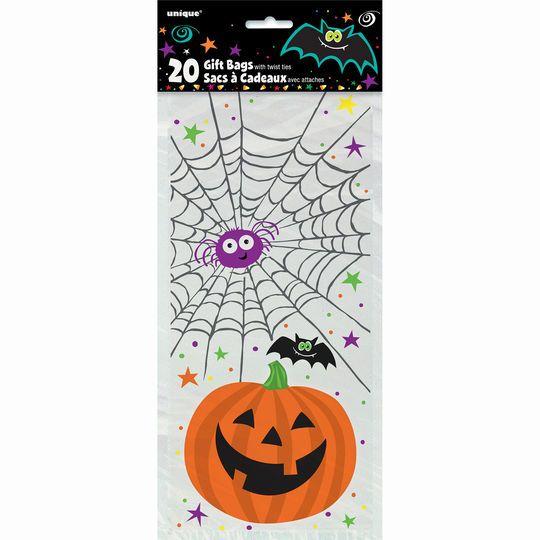 Unique Pumpkin Pals Halloween Cellophane Bags, 20ct