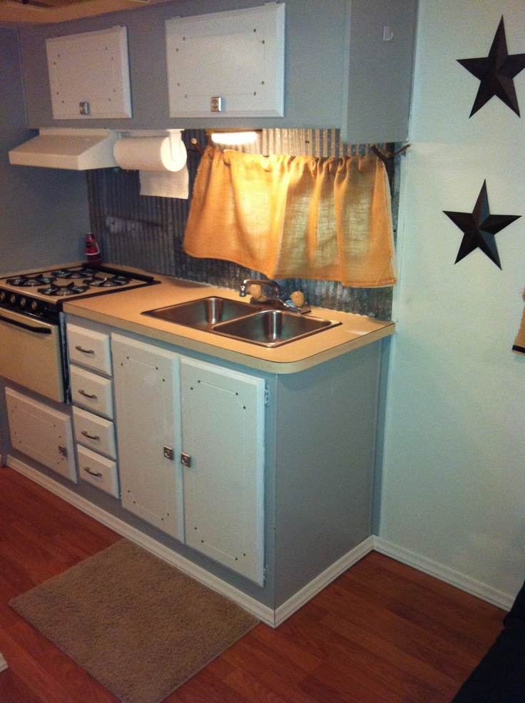 How to paint laminate camper cabinets for Camper kitchen cabinets