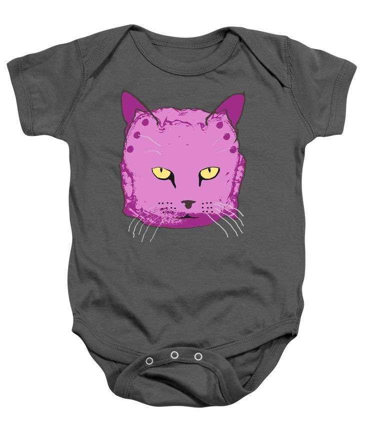 Purple Baby Onesie featuring the mixed media Cloth Diaper Cat In Purple by Sverre Andreas Fekjan