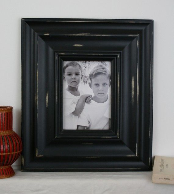 5x7 Distressed Wood Picture Frame / Black on 400 / IN STOCK- Ready to Ship via Etsy