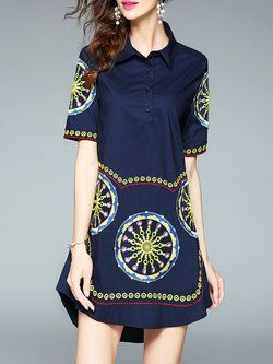 Navy Blue Shirt Collar Boho Tribal Shirt Dress