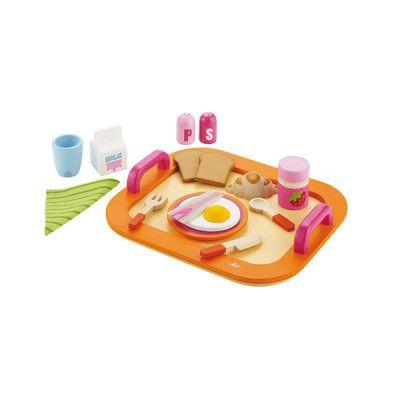 Houten dienblad met ontbijt van Sevi. Alles is met de hand vervaardigd en van een zeer degelijke kwaliteit. De set bestaat uit 16 stuks.