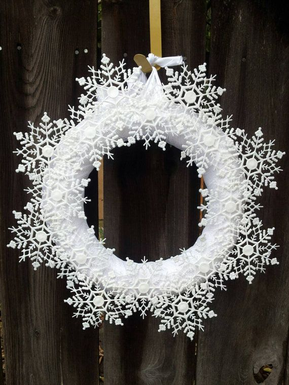 Snowflake Wreath by JenniferRoseWreaths on Etsy