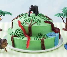 Jungle Cake: A cake fit for Tarzan or Jane, and ALLEN'S Snakes Alive! http://www.bakers-corner.com.au/recipes/allens/jungle-cake/