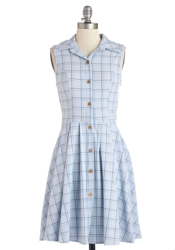Swing Vote Dress in Sky. When your date suggests swing dancing, you give a vote of stylish support by slipping into this plaid shirt dress by Fleet Collection! #blue #modcloth