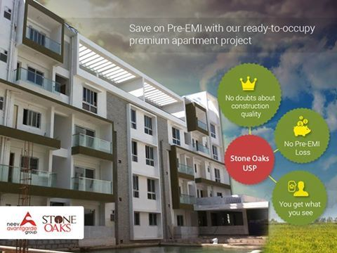 If you are planning to invest in a Home this year with a home loan - consider StoneOaks from NeevAvantgarde Group. This premium apartment project on Hosa Road offers you Ready-to-occupy homes in March 2016! This will save you the PRE-EMI Charges and you can also save on RENTAL accommodation. For a Site Visit & Project Brochure Call: +91 76760 09999 or visit http://neevavantgarde.com/luxury-apartments-hosur-road/stoneoaks/