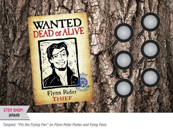 """Tangled Party Game: """"Pin the Frying Pan"""" on Flynn Rider Poster and Frying Pans (Digital File)"""