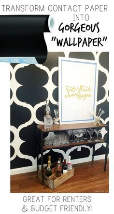 """Contact Paper Turned Renter's """"Wallpaper""""! This wall's pattern was created with contact paper and scissors! Easily removable, budget friendly, and renter friendly!"""