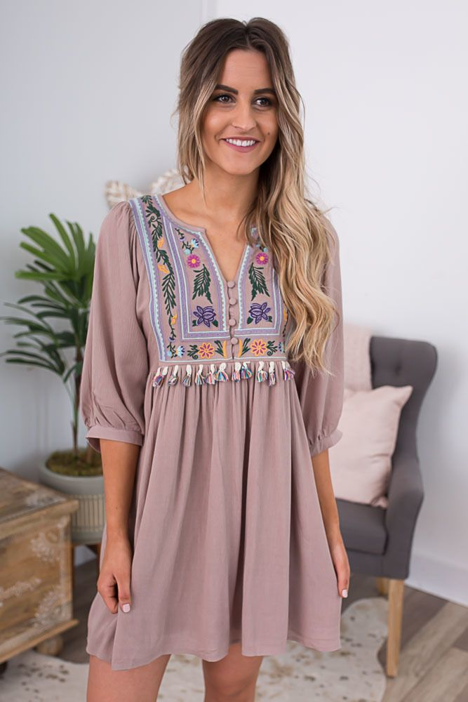 9021e9828e4 Shop our Beach House Tassel Embroidered Dress in Mocha. Pair with wedges  and a floppy hat for a chic look. Always free shipping on all US orders.