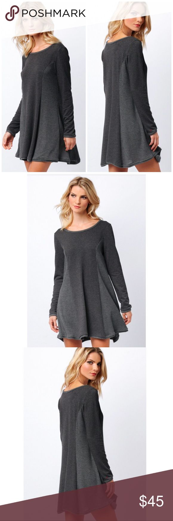 """Lazy Sunday waffle Knit Tunic dress Casual weekend Tunic dress in charcoal and grey combo, scoop neck, long sleeves with contrast trim. Approx length 32"""". Available in S-M-L Dresses Mini"""