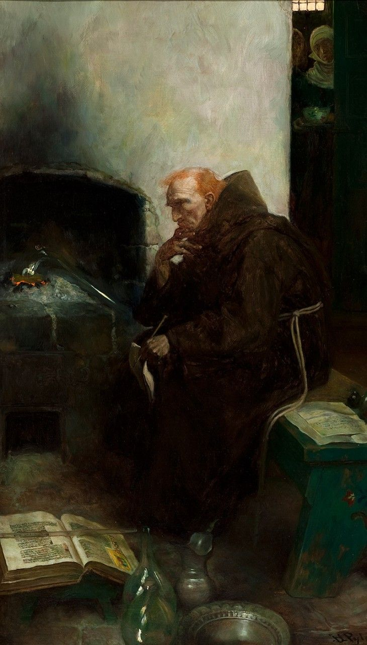 """""""Friar"""" Bacon in His Study (Roger Bacon)  art by Howard Pyle"""
