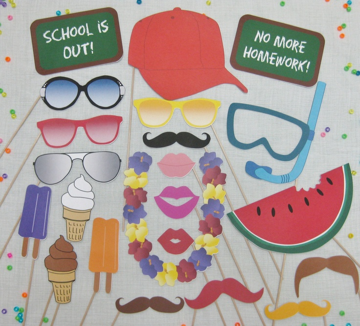 PDF -  Summer / End of School / End of Year photo booth props/decorations/craft - printable DIY. $3.95, via Etsy.