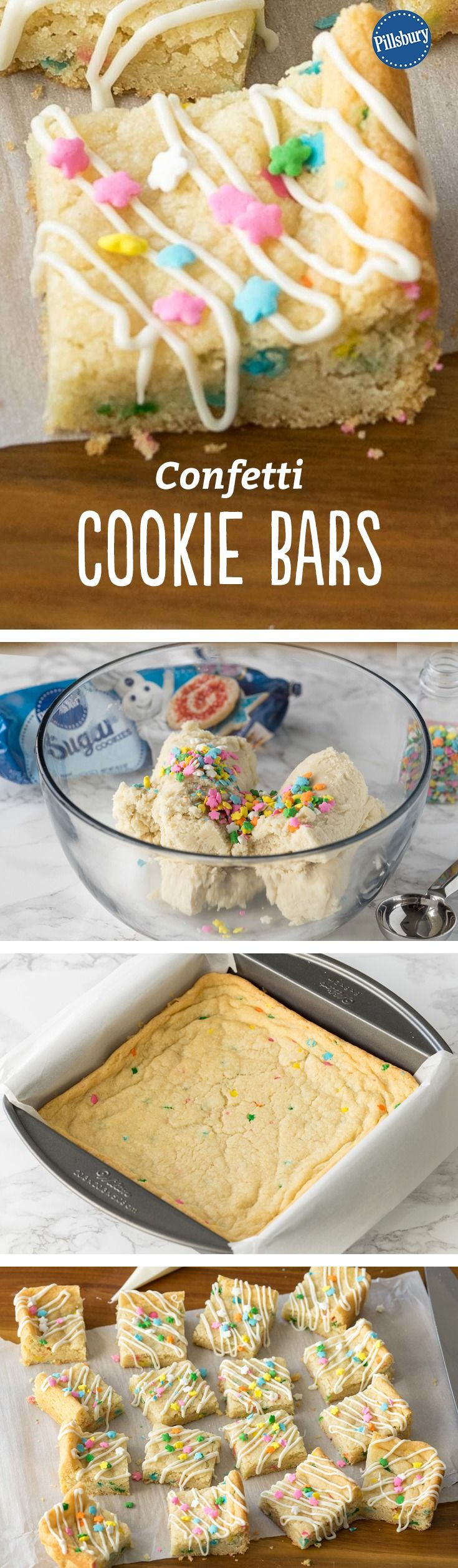 Confetti Cookie Bars - With just 3 ingredients and only 5 minutes of prep, you can make these adorable sugar cookie bars, perfect for celebrations or a simple dessert in spring.