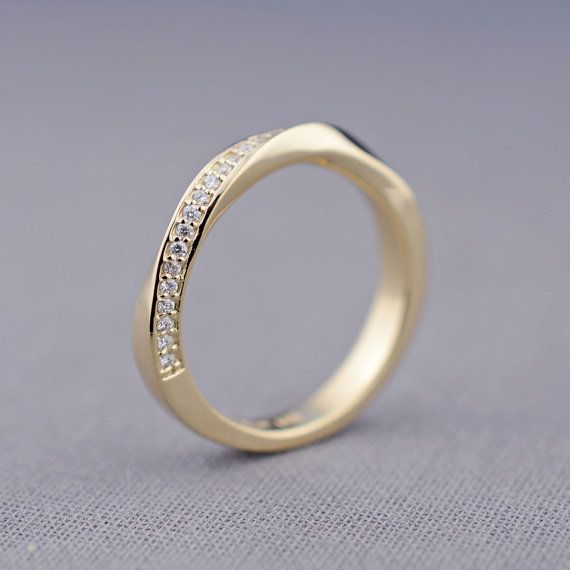 Twisted Wedding Band Gold Canadian Diamond Mobius Ring With Diamonds