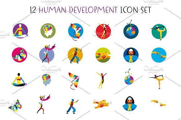 Human Development Icons Set by ÁRTICA on @creativemarket