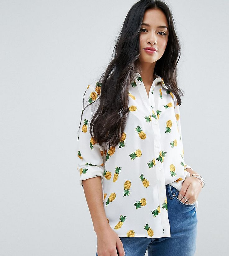 ASOS PETITE Blouse in Pineapple Print - Multi