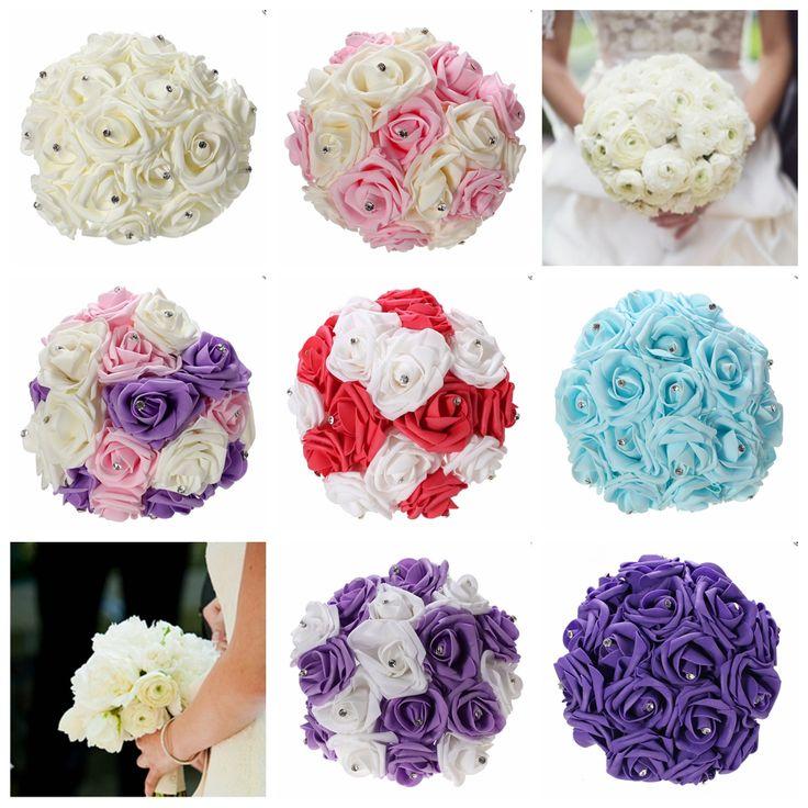 11.8'' Crystal Bridal Bridesmaid Bouquet Foam Flower Roses Wedding Posy Cheap - NewChic