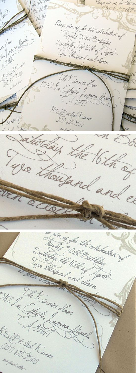 invitation. I like the twine tied around the invitation. Gives it that rough woodsy feeling