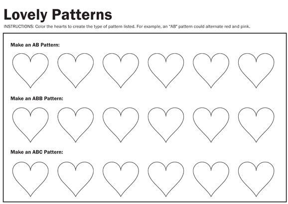 lovely patterns worksheet hearts - Color Pattern Worksheets