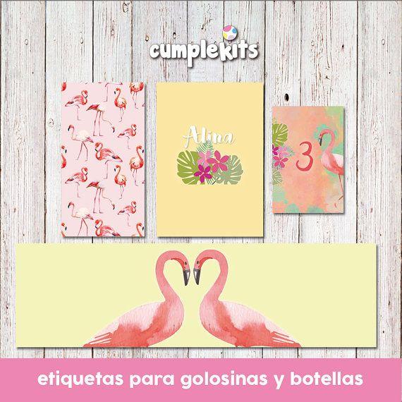 Flamingo Party Printables. Tropical invitation. por CumpleKits