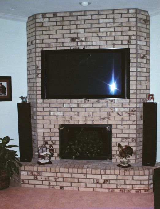 Fireplace Makeover, Brick fireplace makeover using wood trim and marble. , Before, Living Rooms Design