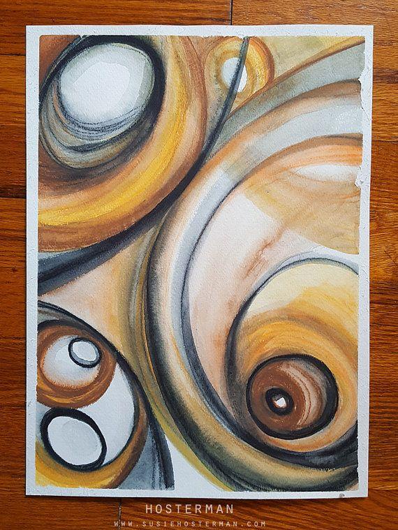 Zijde - Abstract expressionistische aquarel 11 x 15 Originele kunst  ----  Ik beschrijf mijn stijl als Swirly kleurrijke spullen en dingen. En dingen en dingen die ik leuk om te maken.  Ik heb het creëren van kleurrijke swirly spul sinds ik op de middelbare school was en graag denken dat ik de stijl geperfectioneerd door te doen het over en weer. Once upon a time, mijn professor op de Universiteit mijn stijl (ze was niet feelin  de swirls, man!) die alleen me meer vastberaden om Swirl…