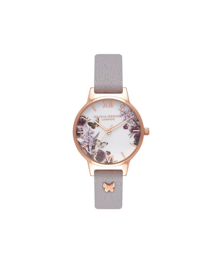 Ladies Enchanted Garden Grey Lilac & Rose Gold Watch   Olivia Burton London   Olivia Burton US