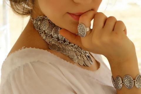 Otantik İşlemeli Zarif Yüzük, Ayarlanabilir / Antik Gümüş, Yüzük, Takimania - 1