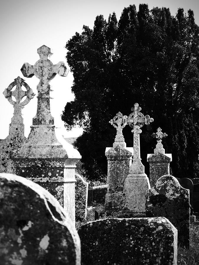 Celtic Crosses at Fuerty Cemetery Roscommon Ireland Photograph  - Celtic Crosses at Fuerty Cemetery Roscommon Ireland Fine Art Print