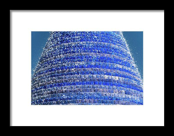 Blue Fountain Marble Tiles Abstract Background Framed Print