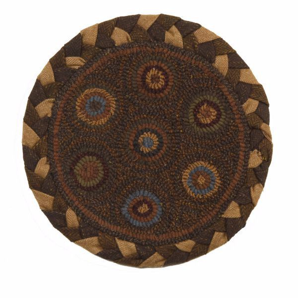 Round Chair Pad   Put A Touch Of Hand Hooked Primitive Style Under Your  Guests With The Homespice Decor In Circles 15 In Round Chair Pad .