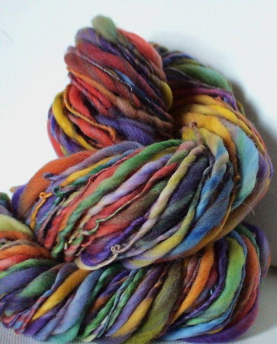 Knitting Handspun Yarn : Handspun yarn thick and thin merino bulky oz yards