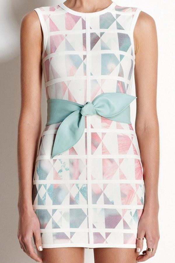 Talulah - White Love Dress in #Geometric Print (via @jadeandbelle) #pastel #dress
