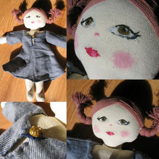 doll matching with my girls dress (I bought the doll without painted face so i made one)