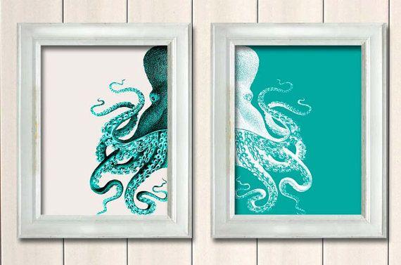 Set of 2 Octopus Prints Green And White, Nautical Print Beach Decor bathroom Decor Nautical Decor Wall Art Beach House Decor Octopus Picture
