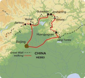 Map of Exodus Travels Walking the Great Wall trip itinerary.