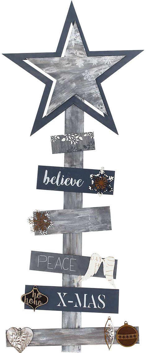 arbol de navidad en tablillas de madera de chopo, decorado continte para ebanistería color Humo y Blanco de Artis Decor