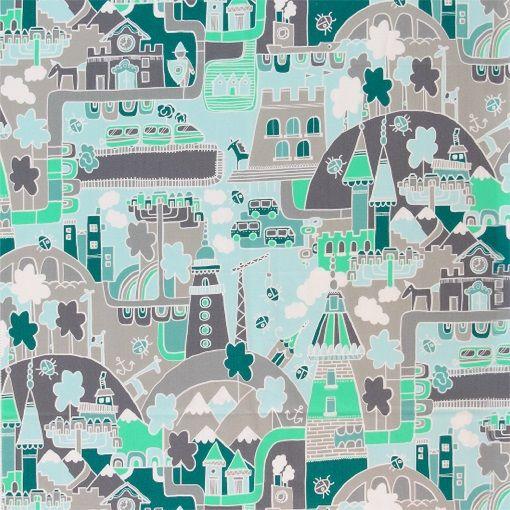 Bomull grønne farger tegnet landskap