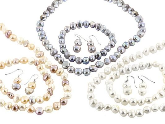 """Pearls are always a classic choice, no matter the color! 8-9mm Multicolor Cultured Freshwater Pearl Silver 36"""" Necklace, Bracelet, And Earring Set Of 3"""